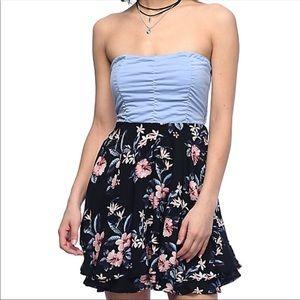 Zumiez Floral Hibiscus Tube Skater Dress